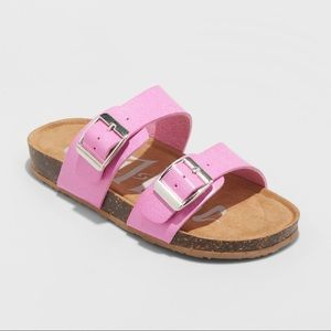 Girls Pink Glittery 2 Buckle Footbed Sandal